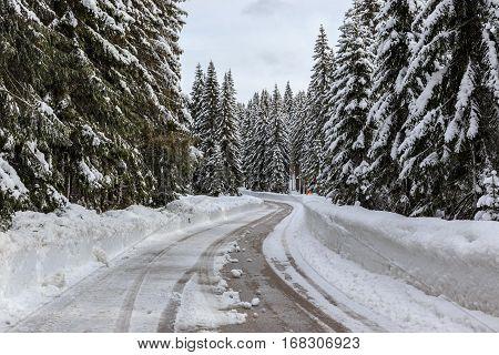 Snowy Winter Road In Slovenia