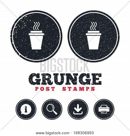 Grunge post stamps. Take a Coffee sign icon. Hot Coffee cup. Information, download and printer signs. Aged texture web buttons. Vector