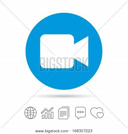 Video camera sign icon. Video content button. Copy files, chat speech bubble and chart web icons. Vector