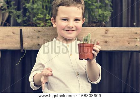 Child Boy Agriculture Crops Planting Nature