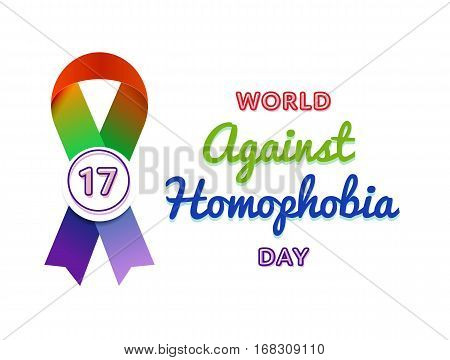 Against Homophobia day emblem isolated vector illustration on white background. 17 may world social holiday event label, greeting card decoration graphic element