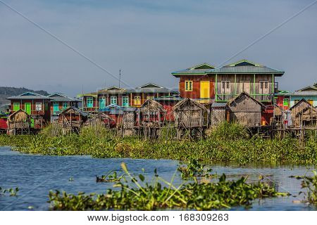 floating houses on the canal of the Inle Lake Shan state in Myanmar