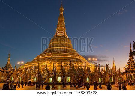 the golden stupa of the Shwedagon Pagoda Yangon in Myanmar