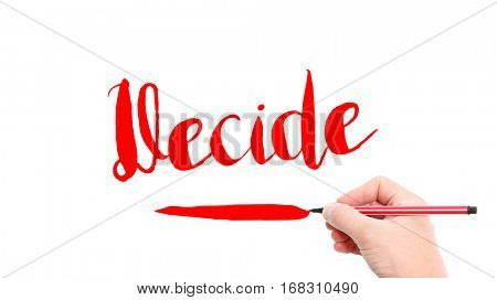 The verb Decide written on a white background