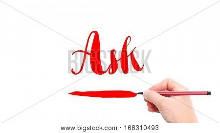 The verb ask written on a white background
