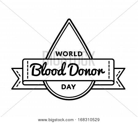 World Blood Donor day emblem isolated vector illustration on white background. 14 june healthcare holiday event label, greeting card decoration graphic element