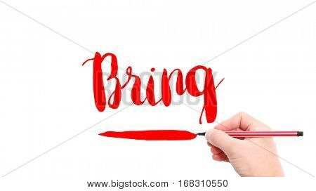 The verb bring written on a white background