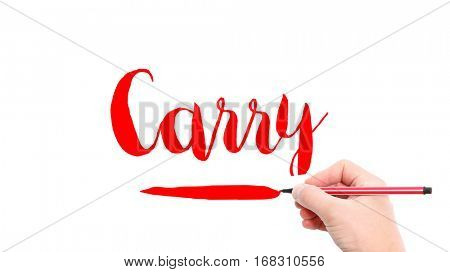 The verb Carry written on a white background