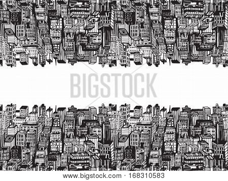 Horizontal reflection banner of big city with skyscrapers. Hand drawn Vintage illustration with New York city NYC, cityscape with panoramic view of architecture, skyscrapers, megapolis, buildings, downtown.