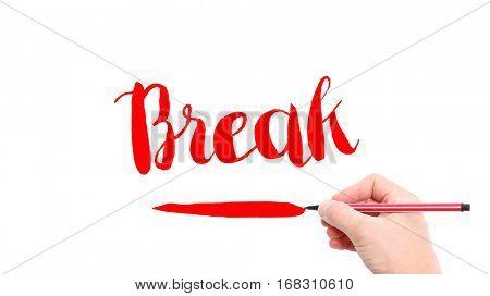 The verb Break written on a white background