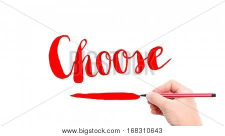 The verb Choose written on a white background