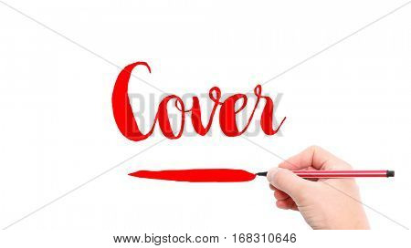 The verb Cover written on a white background