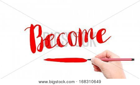 The verb become written on a white background