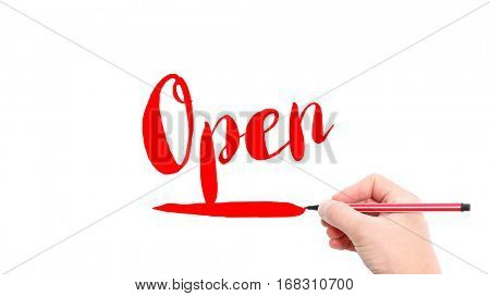 The verb Open written on a white background
