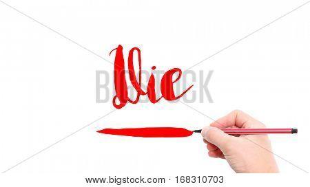 The verb Die written on a white background