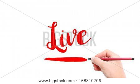 The verb live written on a white background