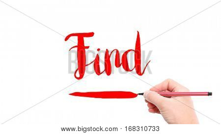 The verb find written on a white background