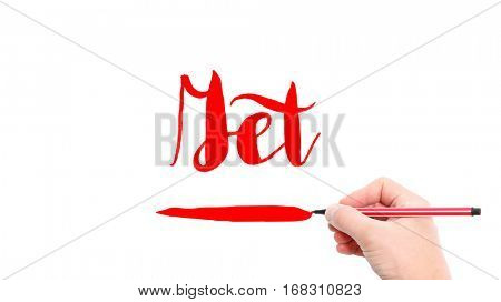 The verb get written on a white background