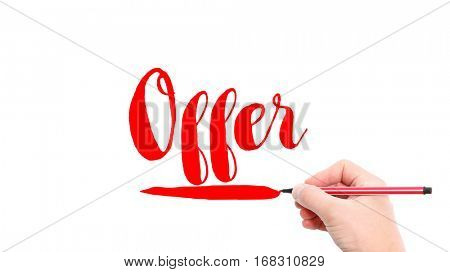 The verb Offer written on a white background