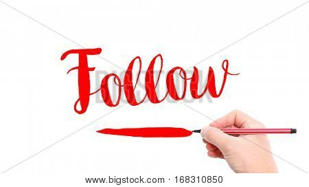 The verb Follow written on a white background