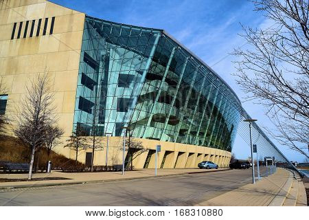 January 30, 2017 in Kansas City, MO:  Kauffman Center for the Performing Arts Building which is a contemporary style concert hall where people can enjoy, the ballet, opera, and symphony taken in Downtown Kansas City, MO