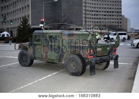 WASHINGTON DC - JANUARY 20: M1165 HMMWV Expanded Capacity Command General Purpose Vehicle parked for Inauguration of Donald Trump. Taken January 20 2017 in District of Columbia.