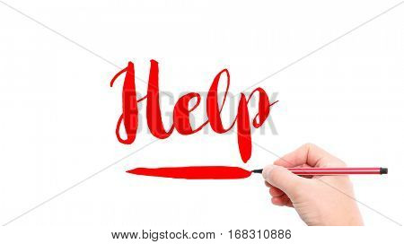 The verb help written on a white background