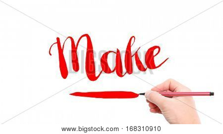 The verb make written on a white background