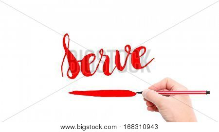 The verb Serve written on a white background
