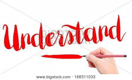 The verb Understand written on a white background