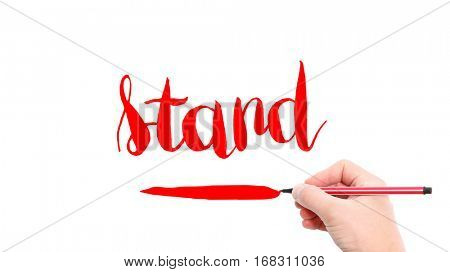 The verb stand written on a white background