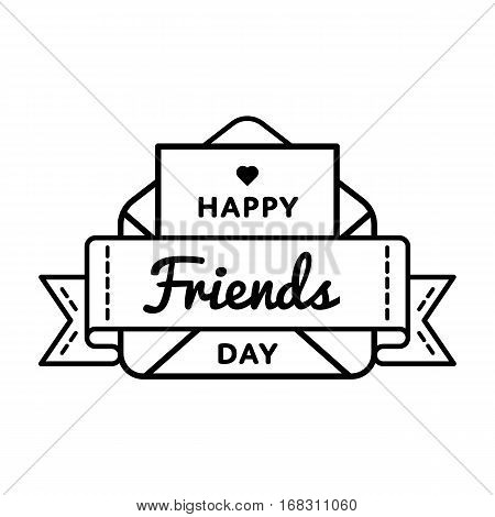 Happy Friends day emblem isolated vector illustration on white background. 9 june world social holiday event label, greeting card decoration graphic element