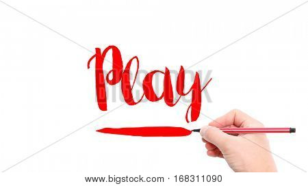 The verb play written on a white background