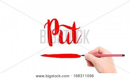 The verb put written on a white background