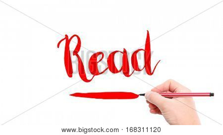 The verb Read written on a white background