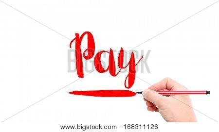 The verb pay written on a white background