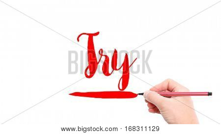 The verb try written on a white background
