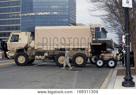 WASHINGTON DC - JANUARY 20: 74th National Guard Troop Command Vehicle parked for Inauguration of Donald Trump. Taken January 20 2017 in District of Columbia.