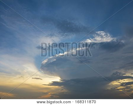 Beautiful sunset with cumulonimbus clouds abstract background