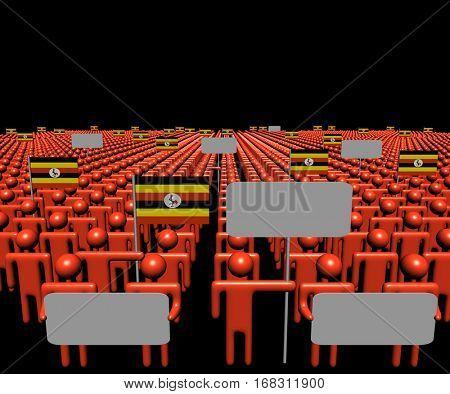 Crowd of people with signs and Ugandan flags 3d illustration