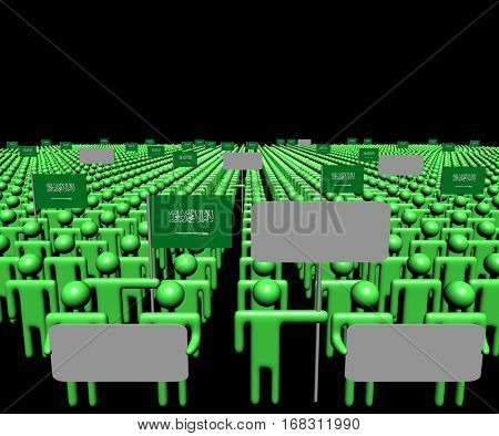 Crowd of people with signs and Saudi Arabian flags 3d illustration