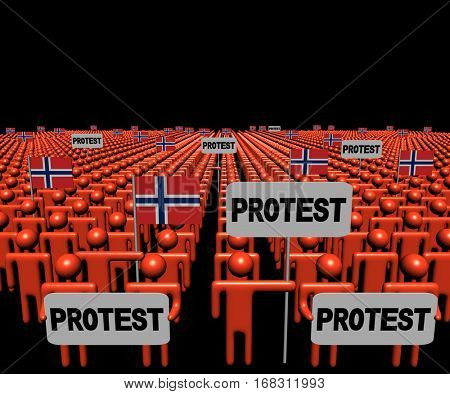 Crowd of people with protest signs and Norwegian flags 3d illustration