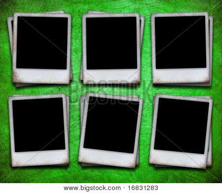 six photo frame on grunge wall