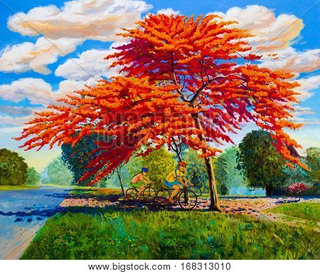 Painting oil color landscape original red orange color of Peacock flowers and woman, man cycling exercise morning. Hand painted blue sky cloud background beauty nature summery season.
