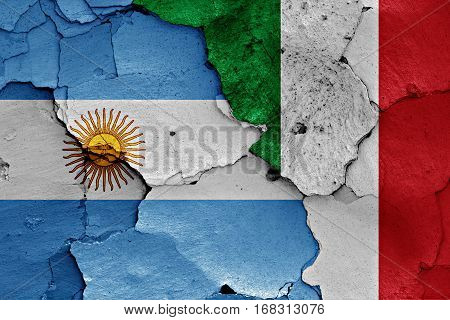 Flags Of Argentina And Italy Painted On Cracked Wall