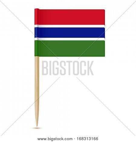 Flag of Gambia. Flag toothpick isolated on white background 10eps