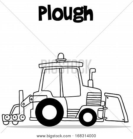 Hand draw of plough transport vector illustration