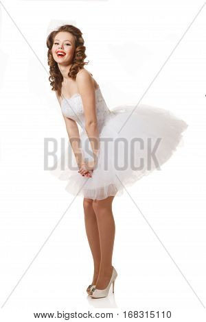 Excited Pin-up bride .Professional make-up hair and style.Isolated in white