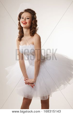 Excited Pin-up bride .Professional make-up hair and style.