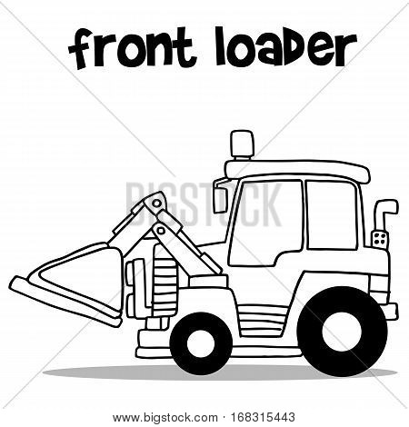 Front loader with hand draw vector art